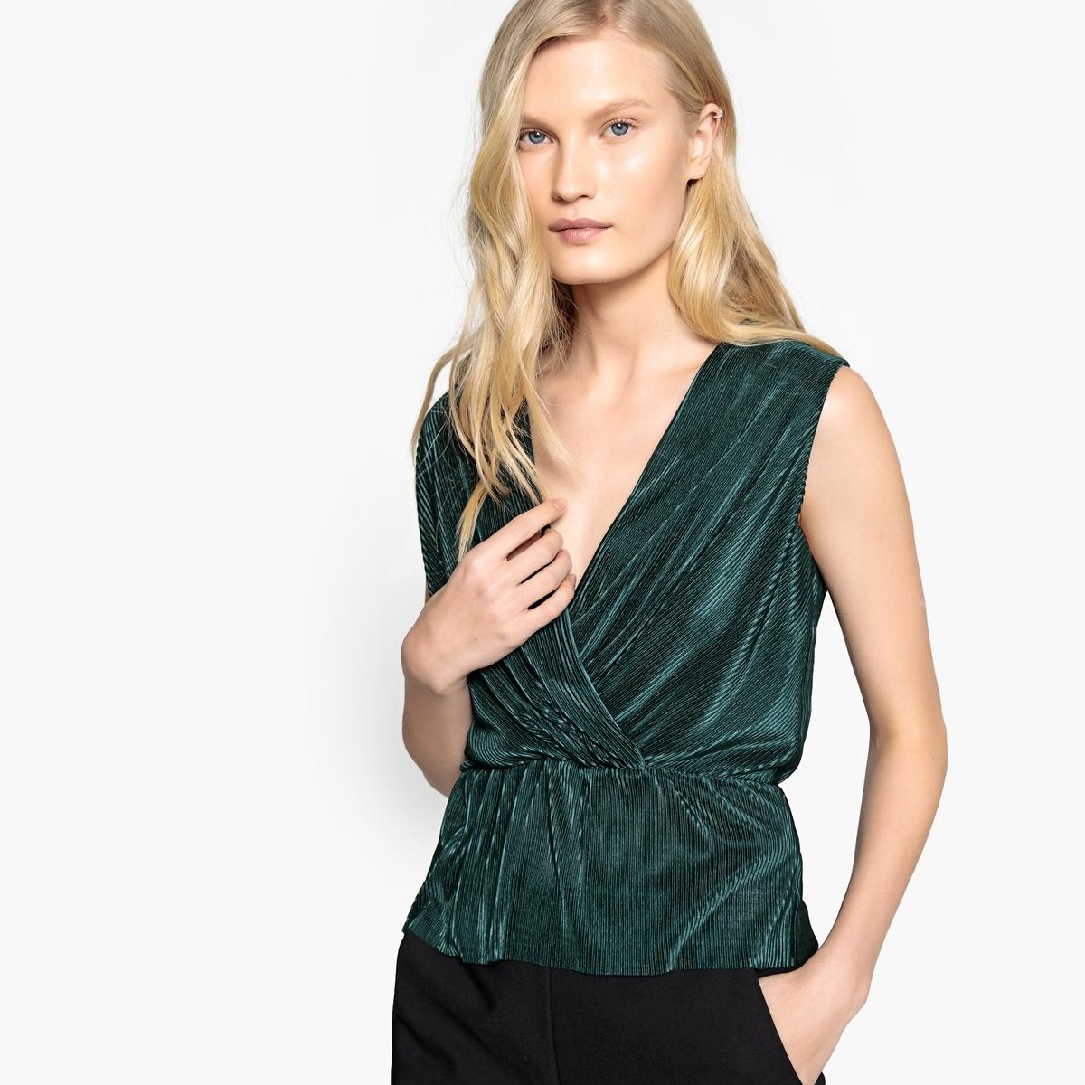 Блузка La Redoute Плиссированная с V-образным вырезом с запахом без рукавов 44 (FR) - 50 (RUS) зеленый блузка la redoute с круглым вырезом без рукавов 50 fr 56 rus черный