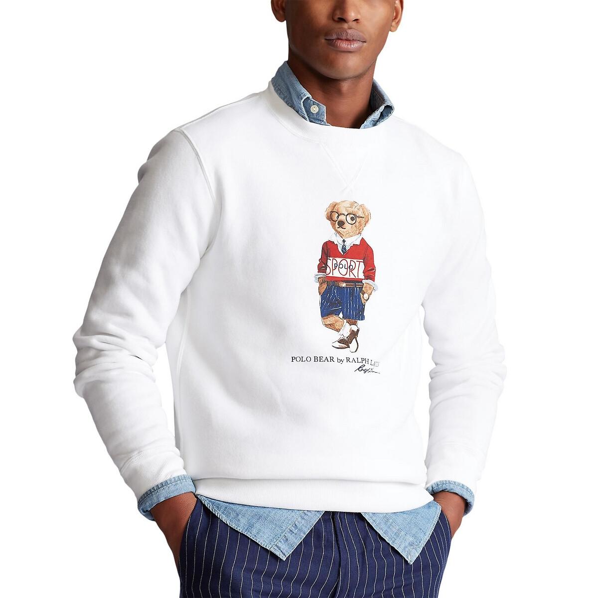 Свитшот La Redoute С круглым вырезом и рисунком медведь Polo Bear M белый футболка la redoute с круглым вырезом и рисунком tova m белый