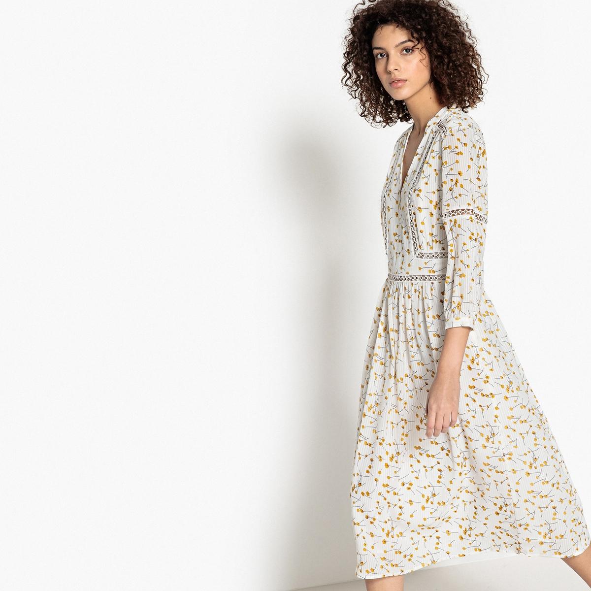 Платье с цветочным рисунком средней длины, 3/4 от La Redoute