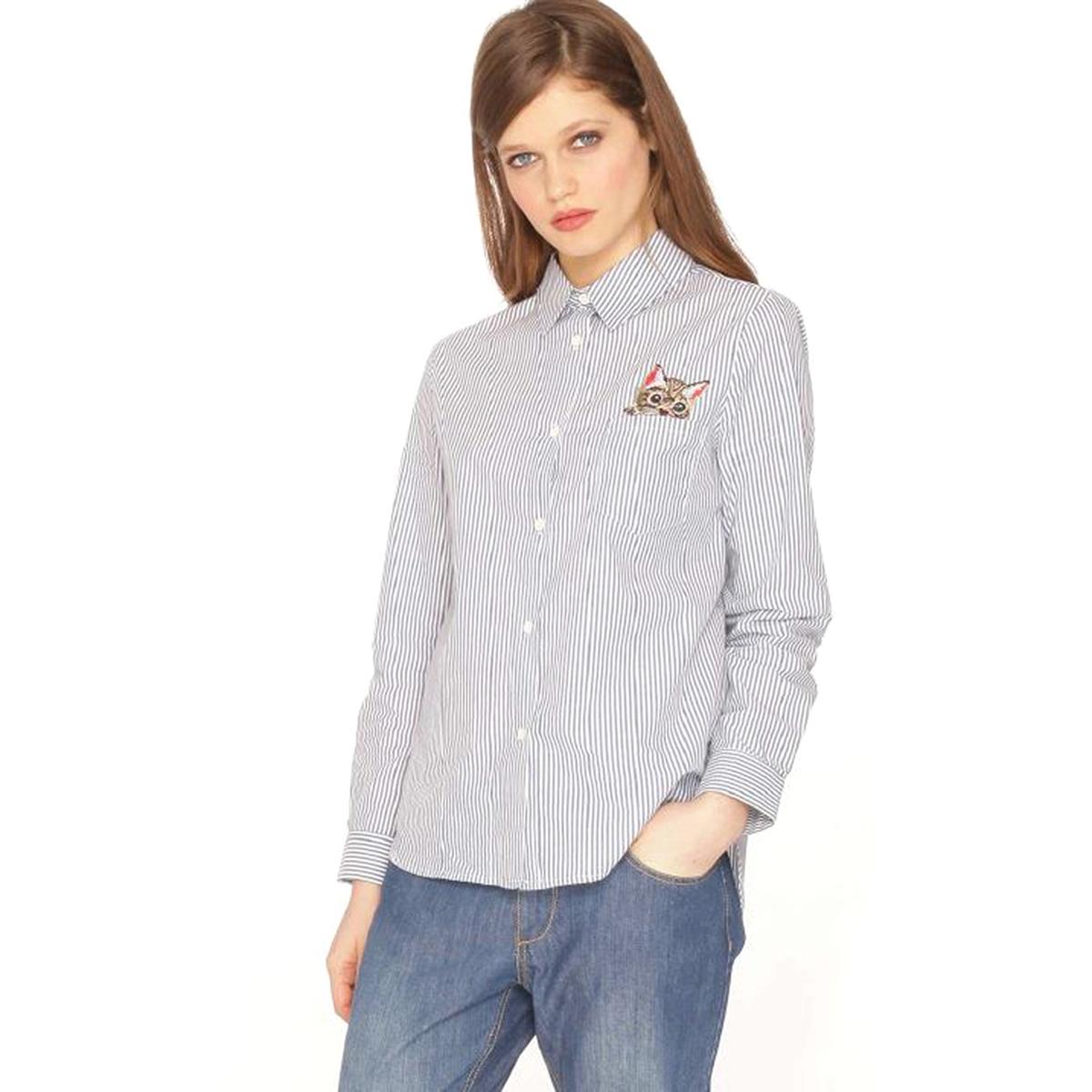 Рубашка с отложным воротником и длинными рукавами