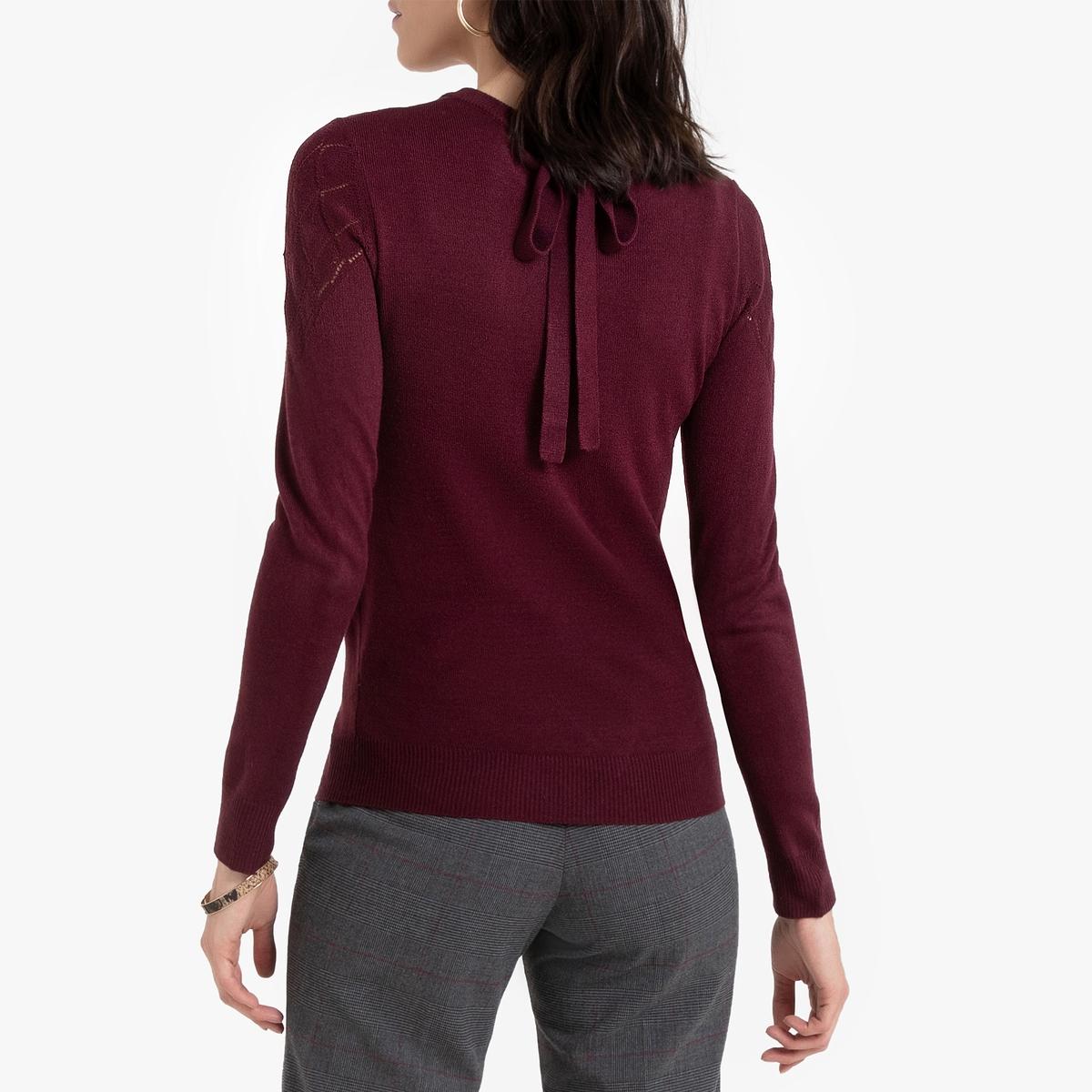 Пуловер La Redoute С круглым вырезом из тонкого ажурного трикотажа 50/52 (FR) - 56/58 (RUS) красный кардиган из ажурного трикотажа с застежкой на пуговицы