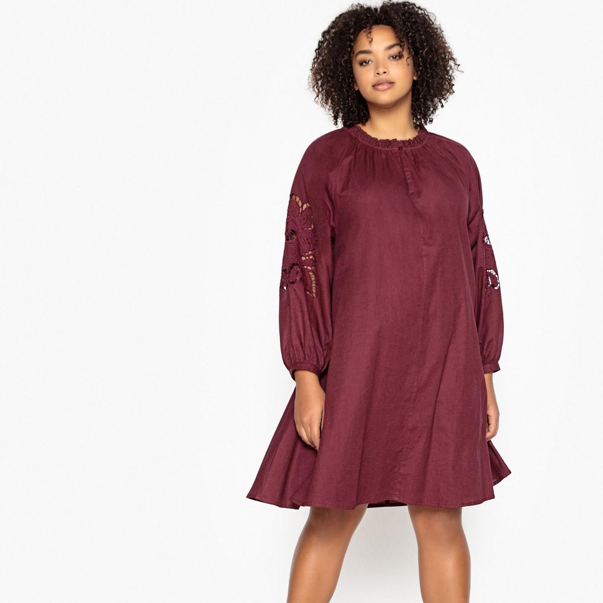 Платье-миди La Redoute Расклешенное с длинными рукавами с вышивкой 46 (FR) - 52 (RUS) красный платье миди la redoute расклешенное с короткими рукавами 42 fr 48 rus красный