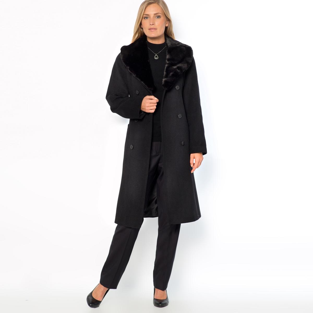 Пальто из полушерстяной ткани с воротником из искусственного меха жакет из велюра на подкладке из искусственного меха