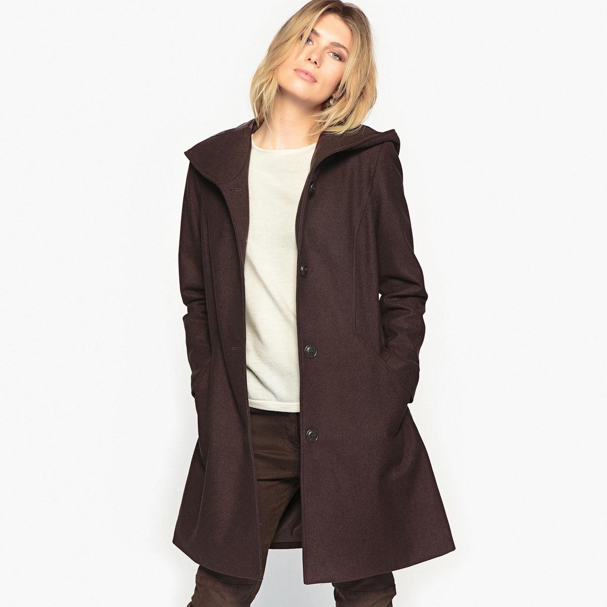 Пальто с капюшоном из ткани с преобладанием шерсти
