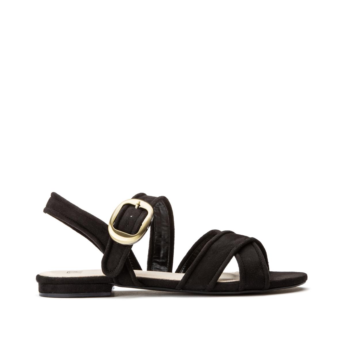 Фото - Сандалии LaRedoute С ремешками на плоском каблуке 39 черный сандалии la redoute из кожи с перекрещенными ремешками на плоском каблуке 39 розовый