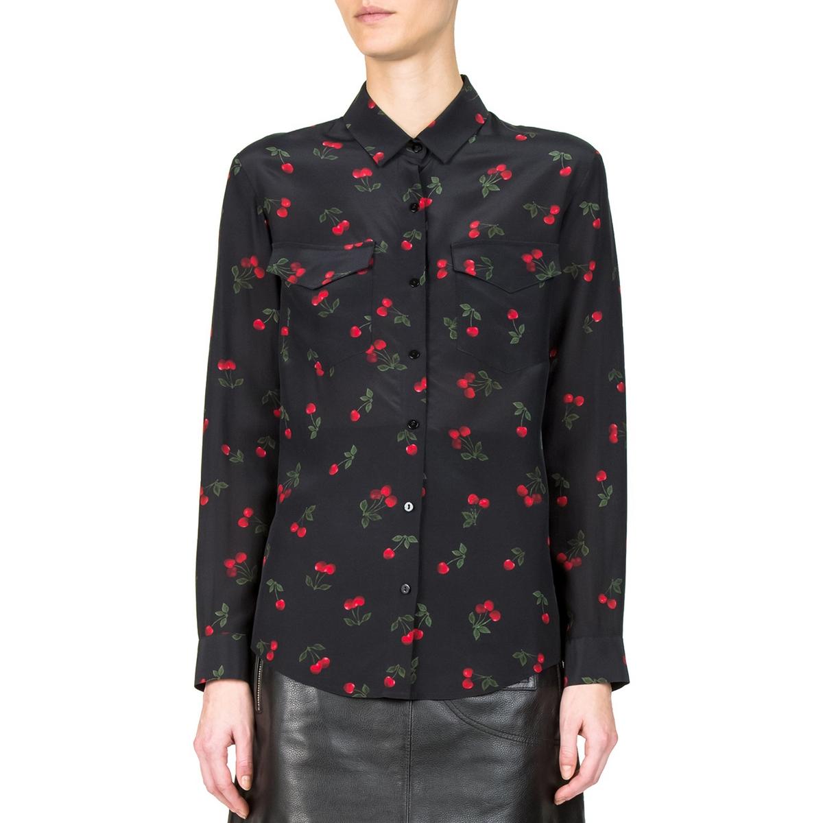 Рубашка шелковая с принтом вишни
