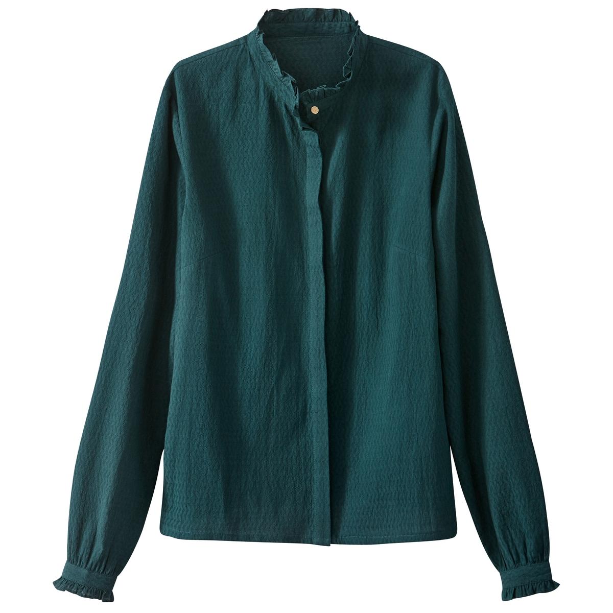 Рубашка с длинными рукавами, с рюшьюДетали •  Длинные рукава  •  Прямой покрой  •  Воротник-стойкаСостав и уход •  100% хлопок  •  Температура стирки при 30° при деликатном режиме   •  Сухая чистка и отбеливание запрещены    •  Не использовать барабанную сушку   •  Низкая температура глажки<br><br>Цвет: белый,темно-зеленый<br>Размер: 36 (FR) - 42 (RUS).44 (FR) - 50 (RUS).34 (FR) - 40 (RUS).38 (FR) - 44 (RUS)