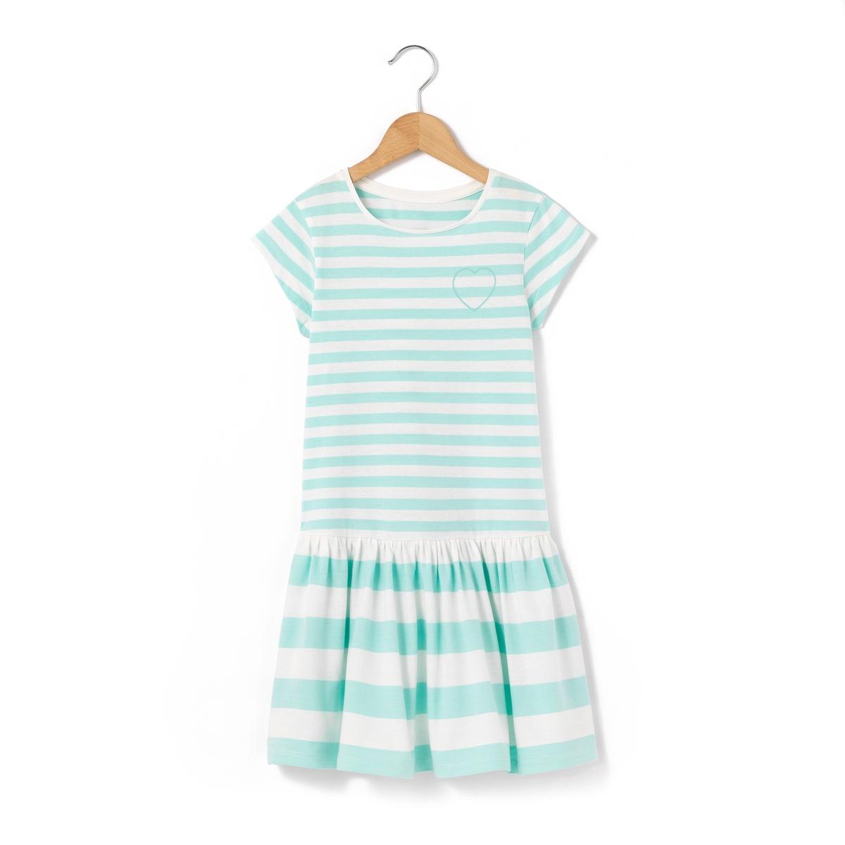 Платье в полоску с короткими рукавами, 3-12 лет