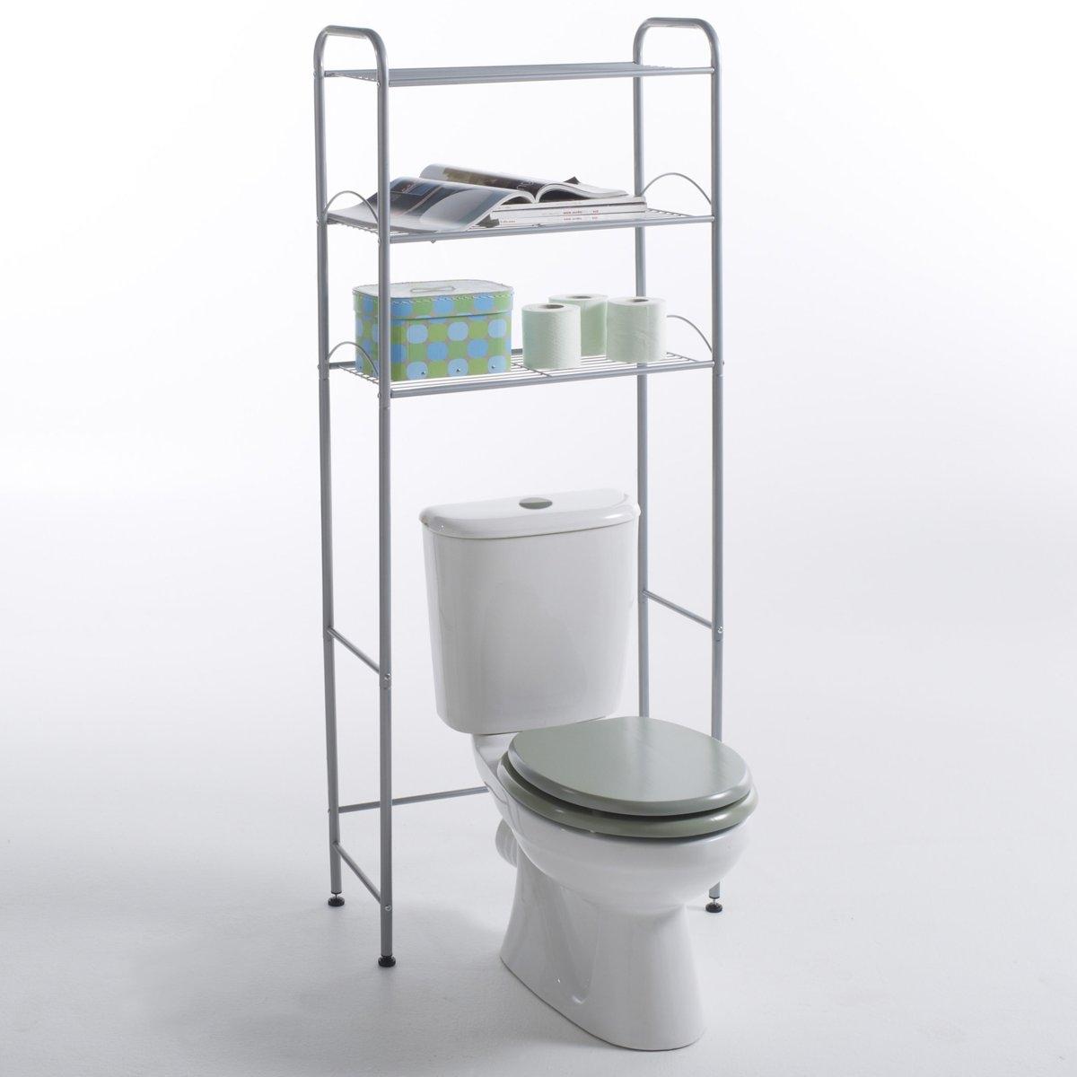 Полка для туалета, 2 цветаЭта полка размещается над унитазом для организации большого места для хранения вещей.Характеристики :- Каркас из металла.- Состоит из 3 этажерок при размещении унитаза внизу .Мебель готова к сборке согласно инструкции.Размеры :- Размер. общие : 61 x 155 x 28 см .<br><br>Цвет: серый хромированный