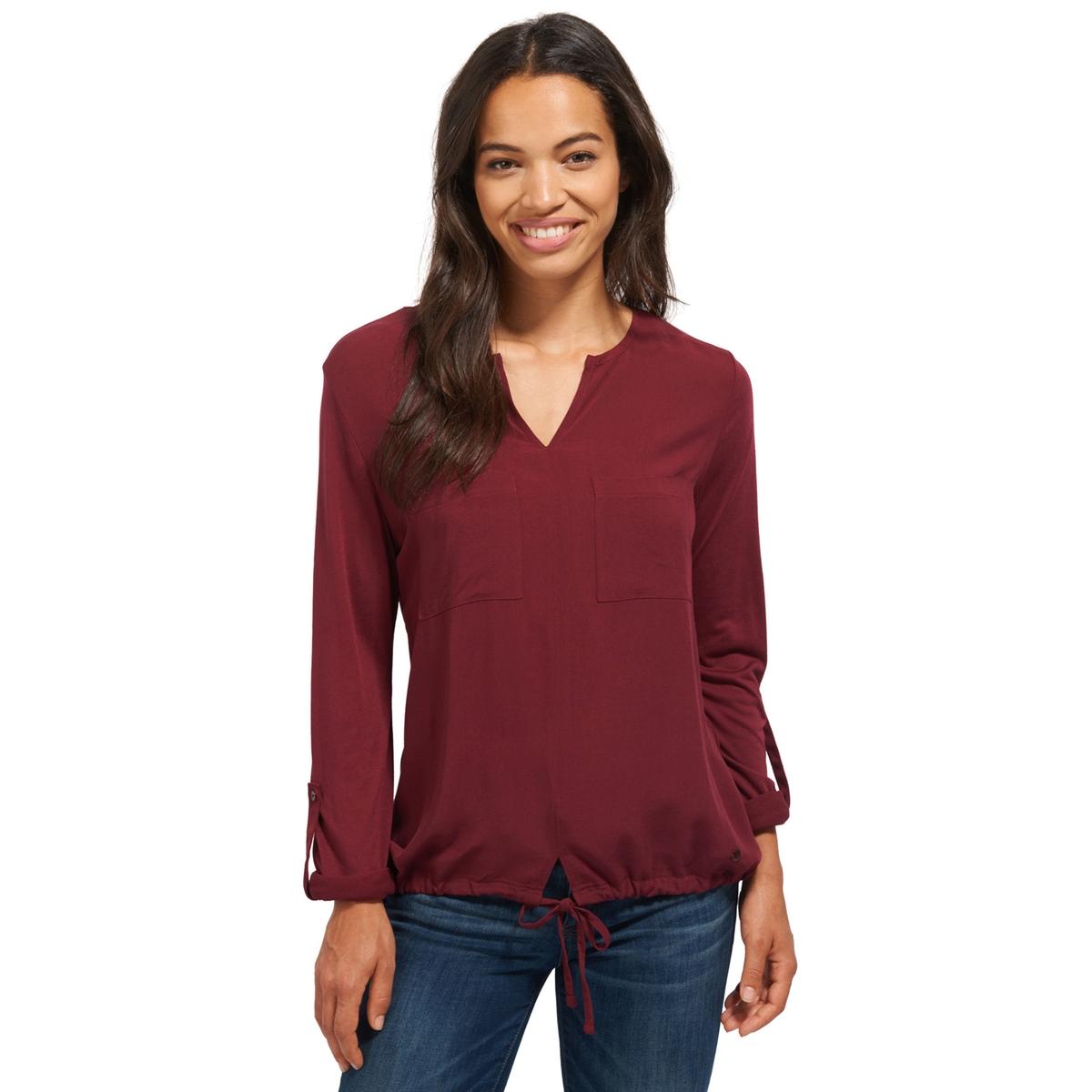 Блузка однотонная с V-образным вырезом и длинными рукавами tom tailor блузка tom tailor 203140400752647