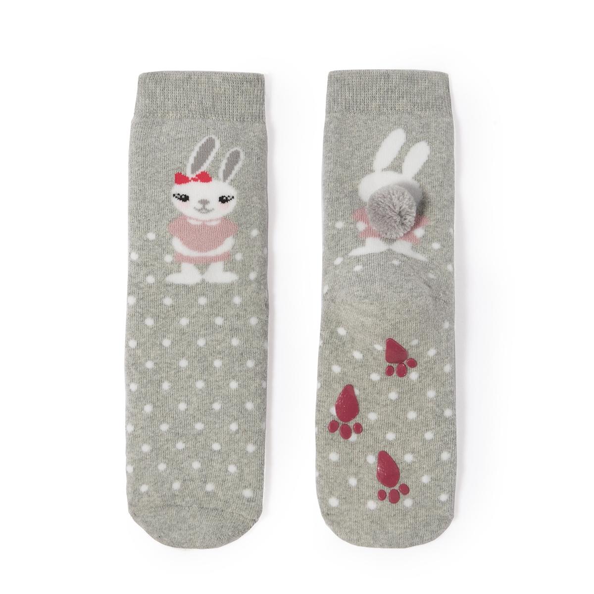 Носки высокие с нескользящей подошвой, 3-12 летВысокие носки с противоскользящим покрытием и рисунком кролик. Внутренняя часть из букле.Состав и описание :    Материал     82% хлопка, 10% полиамида, 7% полиэстера, 1% эластана  Уход : Машинная стирка при 30 °C на умеренном режиме с вещами схожих цветов. Машинная сушка запрещена. Не гладить.<br><br>Цвет: серый<br>Размер: 19/22.31/34.27/30