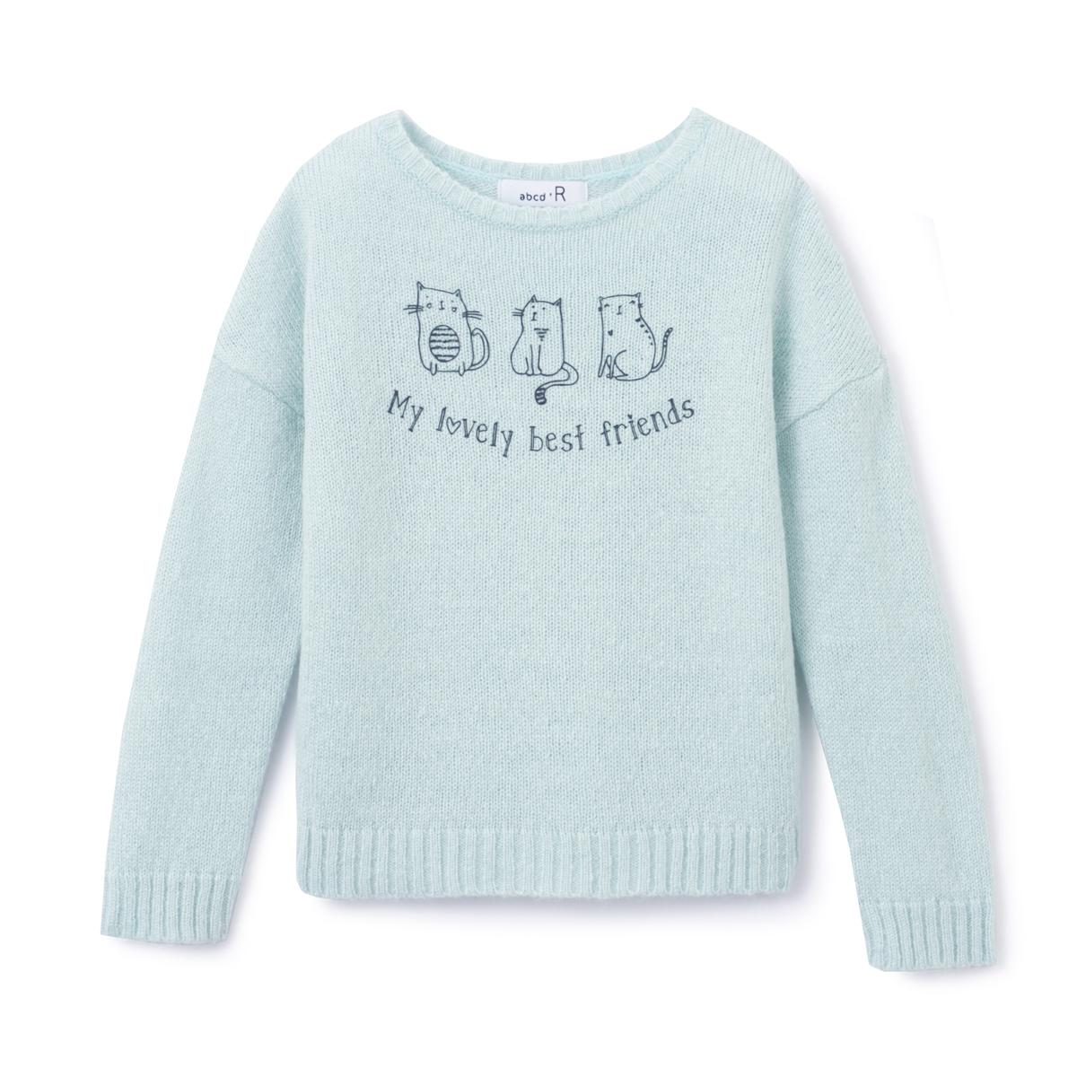 Пуловер с рисунком кошка,  3-12 лет