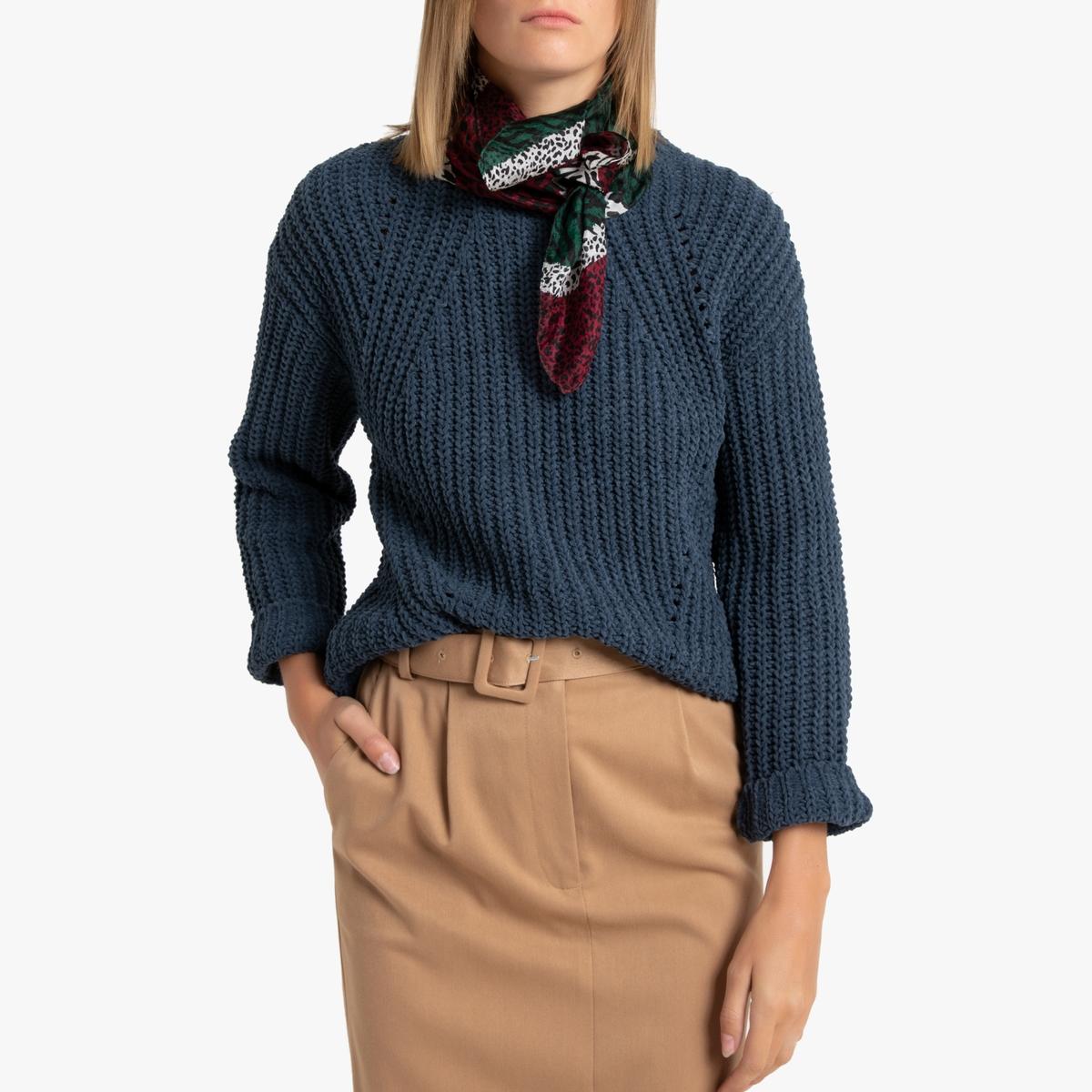Пуловер La Redoute С круглым вырезом из трикотажа с ворсом S синий свитшот la redoute с круглым вырезом и вышивкой s черный