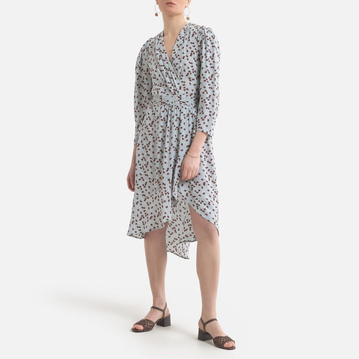Платье LaRedoute С длинными рукавами принтом и V-образным вырезом 2(M) синий