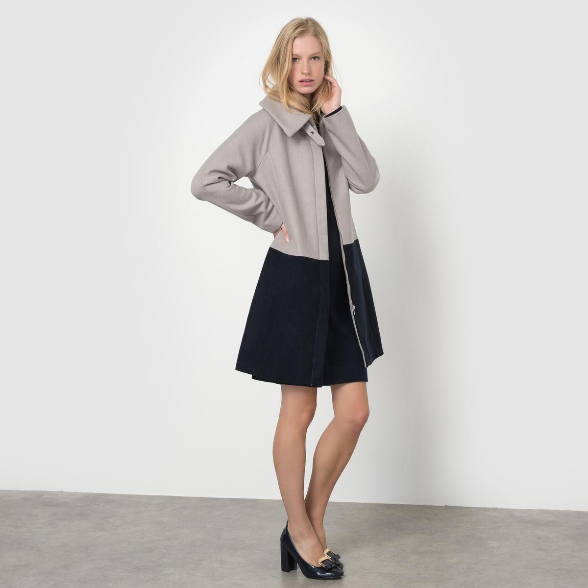 Пальто двухцветное, 55% шерсти пальто 55