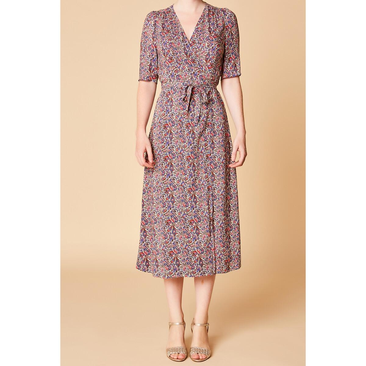 Платье LaRedoute С запахом и цветочным принтом MARILOU S разноцветный