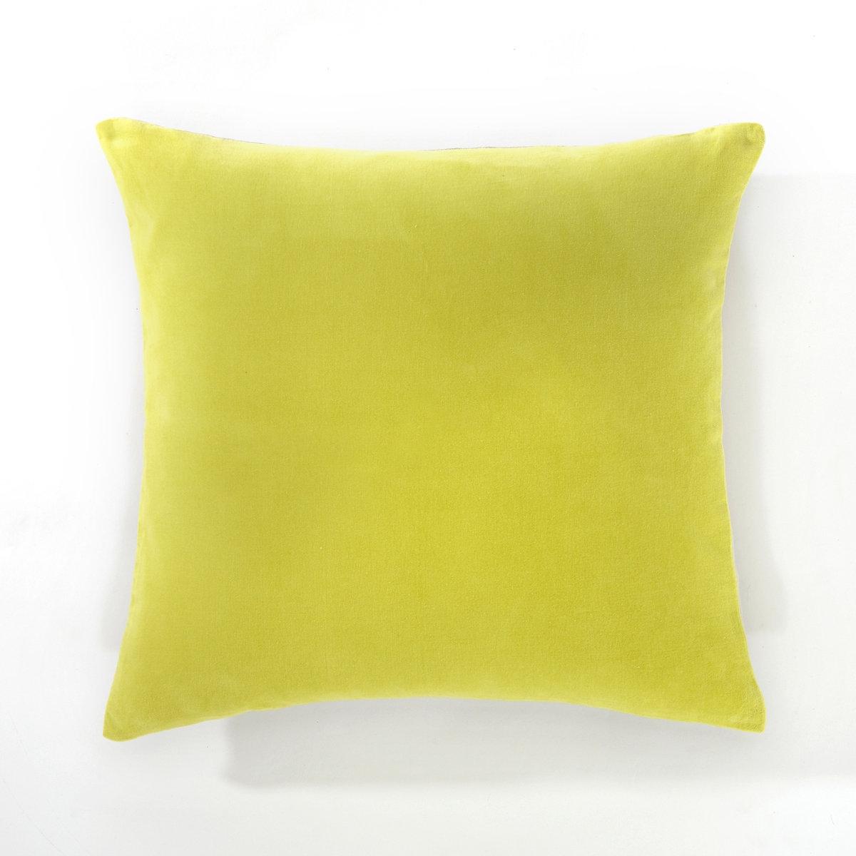 Чехол для подушки, плюш/лен,  KOSTIAКрасивое сочетание плюша и льна .Характеристики чехла для подушки : - 1 сторона из плюша 100% хлопка, 1 сторона из 100% льна.- Застёжка на молнию.- Стирка при 30°.<br><br>Цвет: зелено-желтый/бежевый,сине-зеленый/серо-бежевый<br>Размер: 40 x 40  см.40 x 40  см
