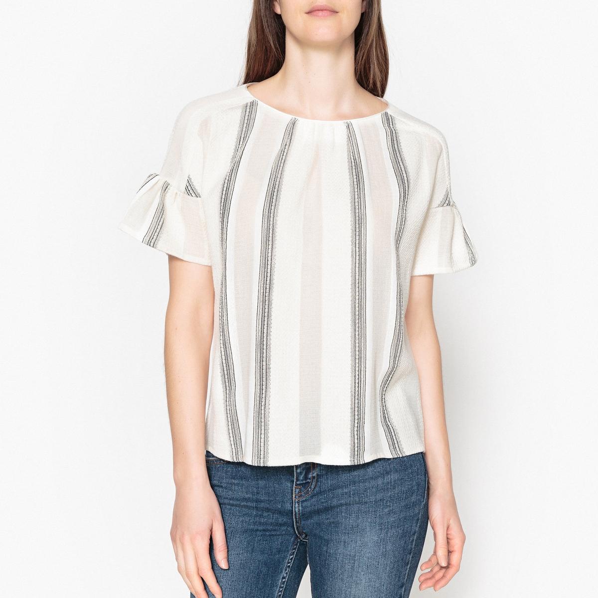 Блузка из жаккардовой ткани с короткими рукавами и воланами PATMOS