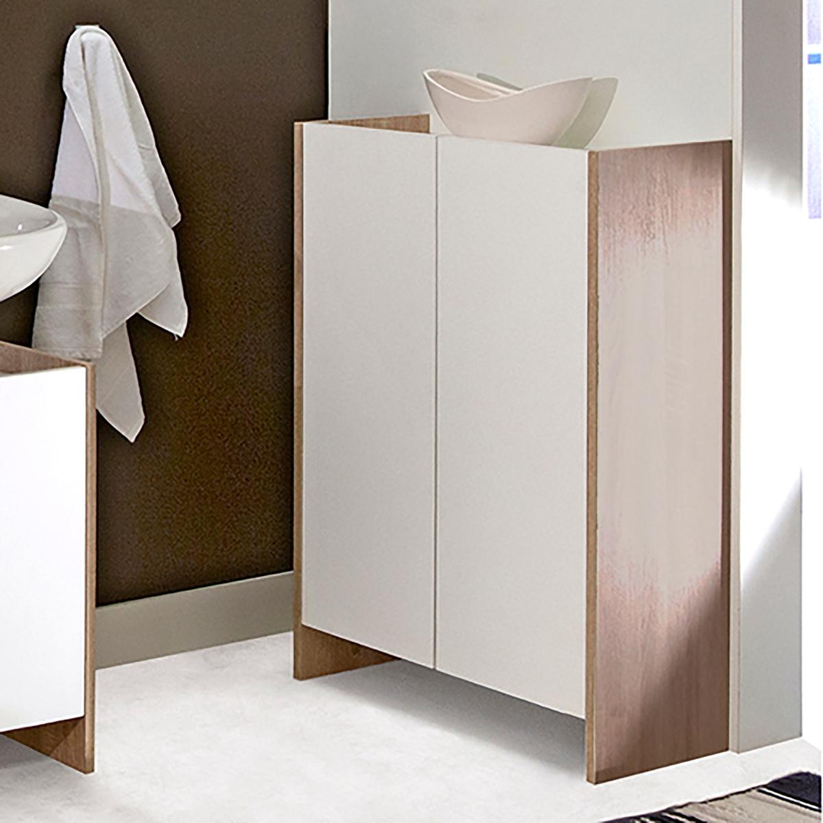 Тумба для ванной комнаты, 2 дверцы, BaneroТумба для ванной комнаты с 2 дверцами Banero включает регулируемую по высоте полку. Больше возможностей для хранения.Описание тумбы для ванной комнаты с 2 дверцами Banero :-   2 дверцы, 1 внутренняя полка, съёмная и регулируемая по высоте (Д56,8 x Г28 см).- Невидимые шарниры (с автоматическим доводчиком).- Защита. Характеристики тумбы для ванной комнаты с 2 дверцами, Banero :- Из ДСП с меламиновым покрытием, толщина 16 мм, цвет светлого дуба, дверцы - белые.Размеры тумбы для ванной комнаты с 2 дверцами, Banero :Общие : Д60 x Г28 x В89,5 см.Размеры и вес упаковки :1 упаковкаД96,3 x Г33,8 x В13 см19,4 кгВсю коллекцию мебели для ванной комнаты Banero ищите на сайте laredoute.ru.Доставка :Тумба для ванной комнаты с 2 дверцами Banero продаётся в разобранном виде.  Доставка на дом, возможен подъём на этаж!Внимание   ! Убедитесь, что товар возможно доставить на дом, учитывая его габариты (проходит в двери, по лестницам, в лифты).<br><br>Цвет: дуб