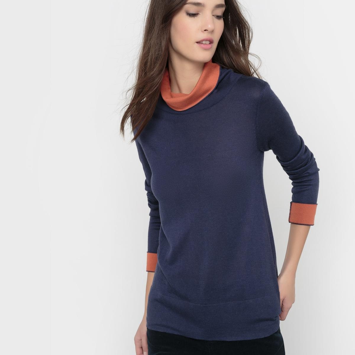 Пуловер двухцветный, воротник-хомут, шерсть в составеПуловер из тонкого трикотажа. Свободный покрой. Воротник-хомут, внутренняя часть контрастного цвета. Длинные рукава, отвороты контрастного цвета. Состав и описание :Марка : R Essentiel. Материал : 50% вискозы, 40% акрила, 10% шерсти мериноса.Длина : 62 см100% применяемой шерсти мериноса получено без процедуры мьюлесинга, что гарантирует благополучие животных.Уход :Стирка при 30°C, вывернув наизнанкуСтирать с вещами схожих цветов Гладить при низкой температуре с изнаночной стороныБарабанная сушка запрещенаСухая (химическая) чистка разрешена..<br><br>Цвет: красный темный,красный,серый меланж,синий морской,черный<br>Размер: 34/36 (FR) - 40/42 (RUS).38/40 (FR) - 44/46 (RUS).42/44 (FR) - 48/50 (RUS)