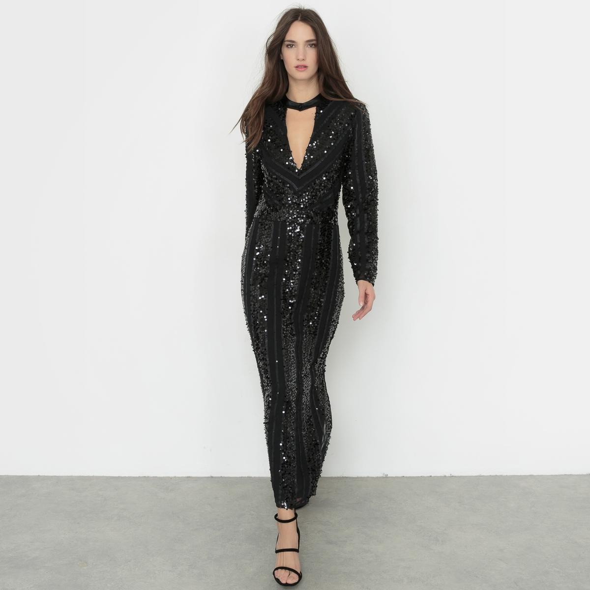 Платье длинное с блестками и глубоким декольте