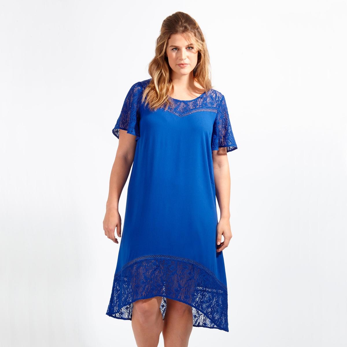 ПлатьеПлатье с короткими рукавами LOVEDROBE. 100% полиэстер. Симпатичное кружево в верхней части платья, на коротких рукавах и снизу<br><br>Цвет: синий<br>Размер: 58/60 (FR) - 64/66 (RUS).50/52 (FR) - 56/58 (RUS)