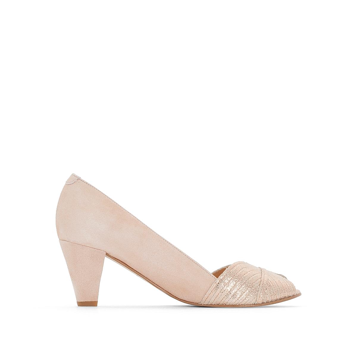 Туфли-лодочки кожаные на широком каблуке, Depois цены онлайн