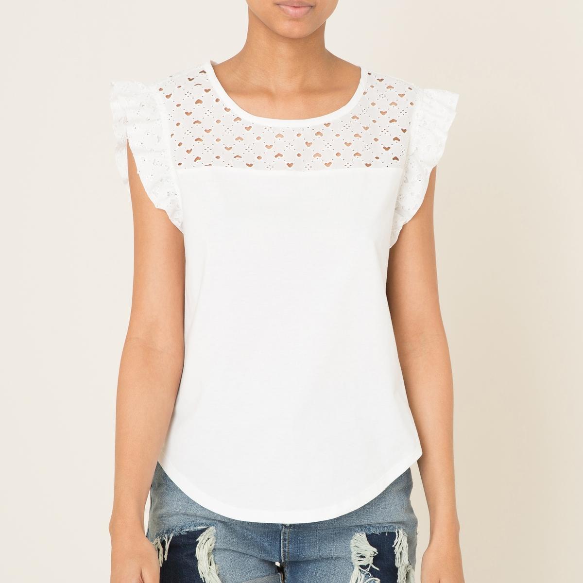 Блузка с английским кружевомСостав и описание Материал : 100% хлопокМарка : MAISON SCOTCH<br><br>Цвет: белый,черный