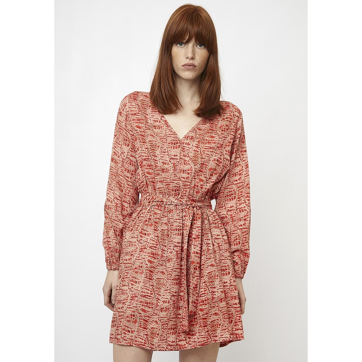 Платье La Redoute Короткое с запахом с длинными рукавами L оранжевый