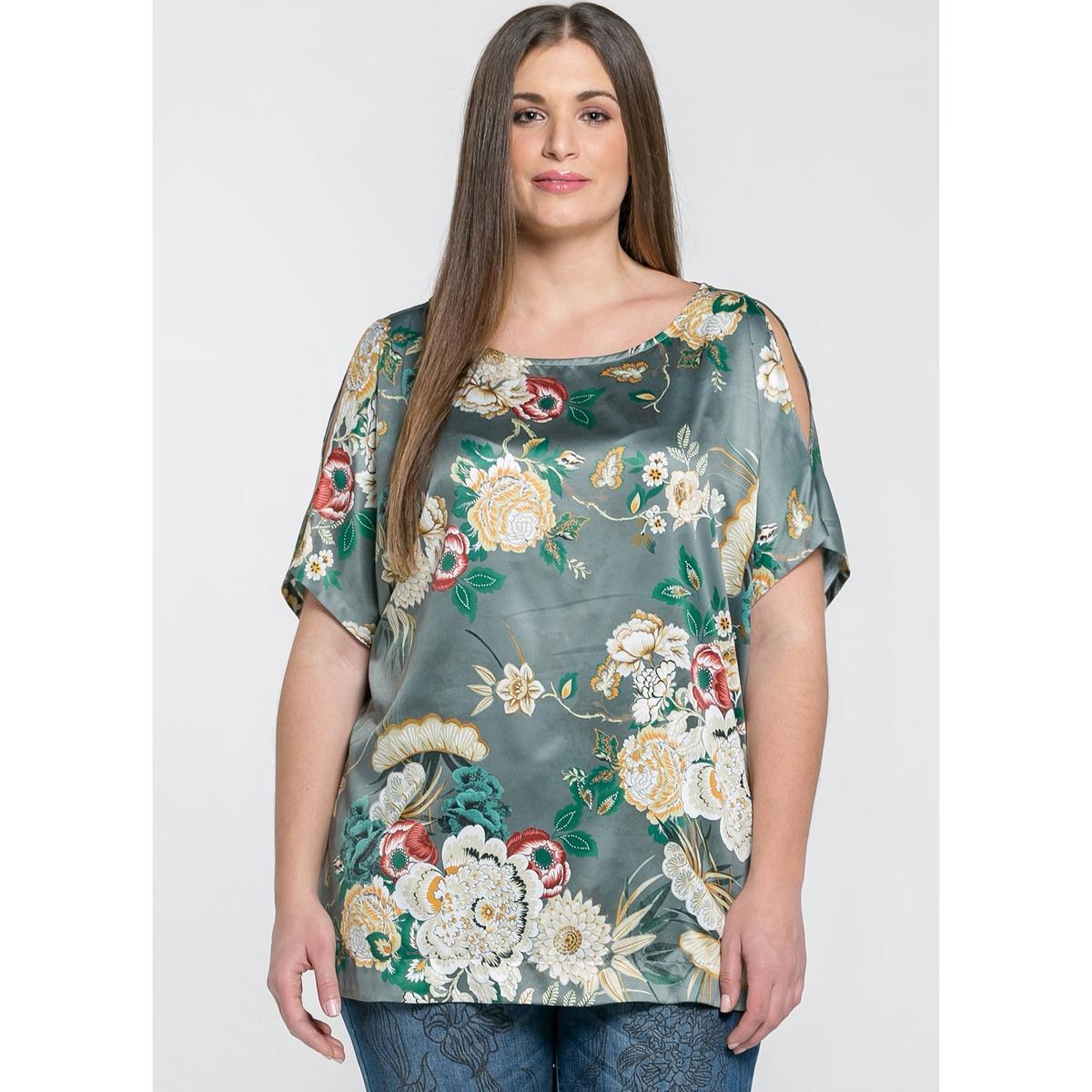Блузка с круглым вырезом,  короткими рукавами