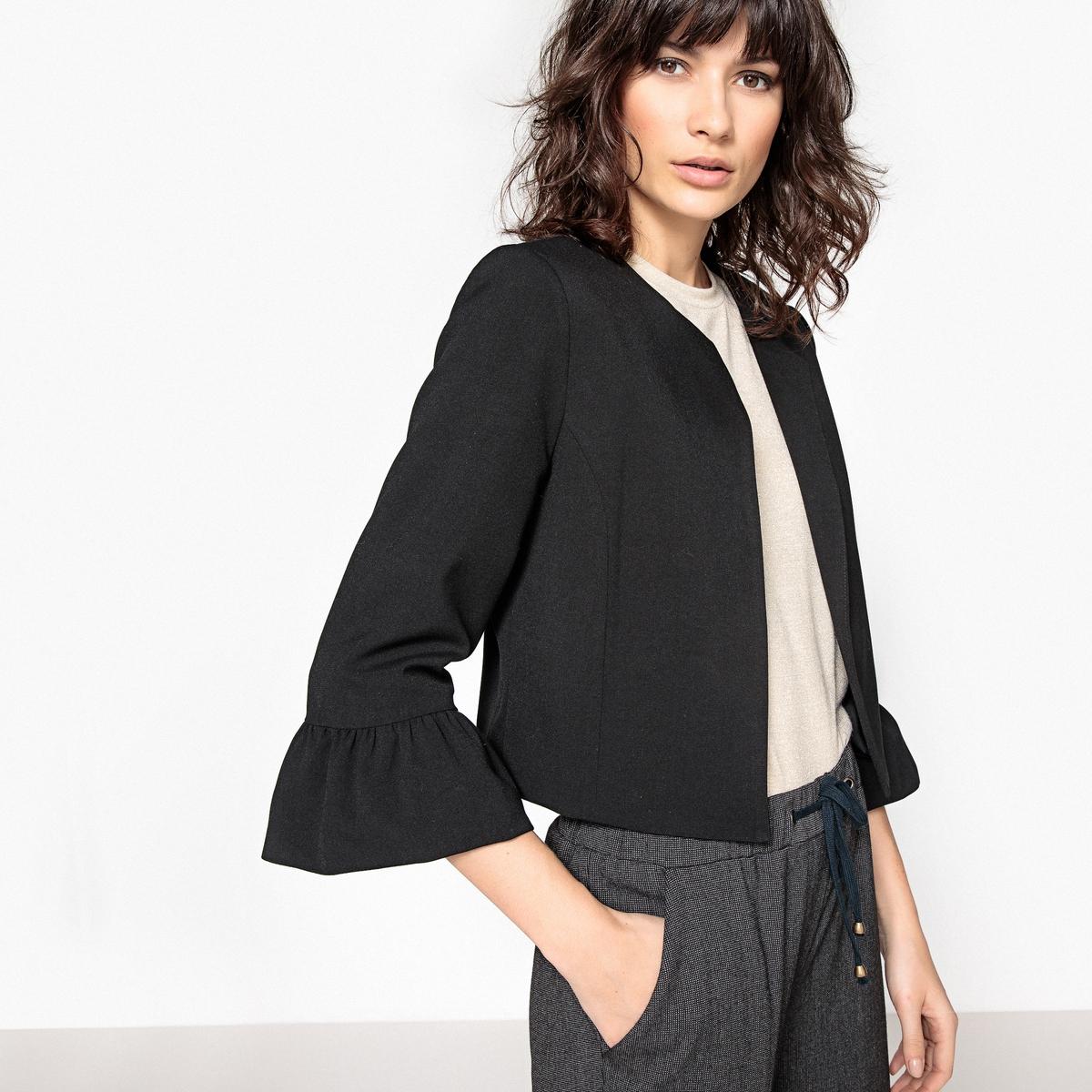 Жакет короткий с воланами на рукавах stylish scoop neck striped beauty pattern short sleeve t shirt for women