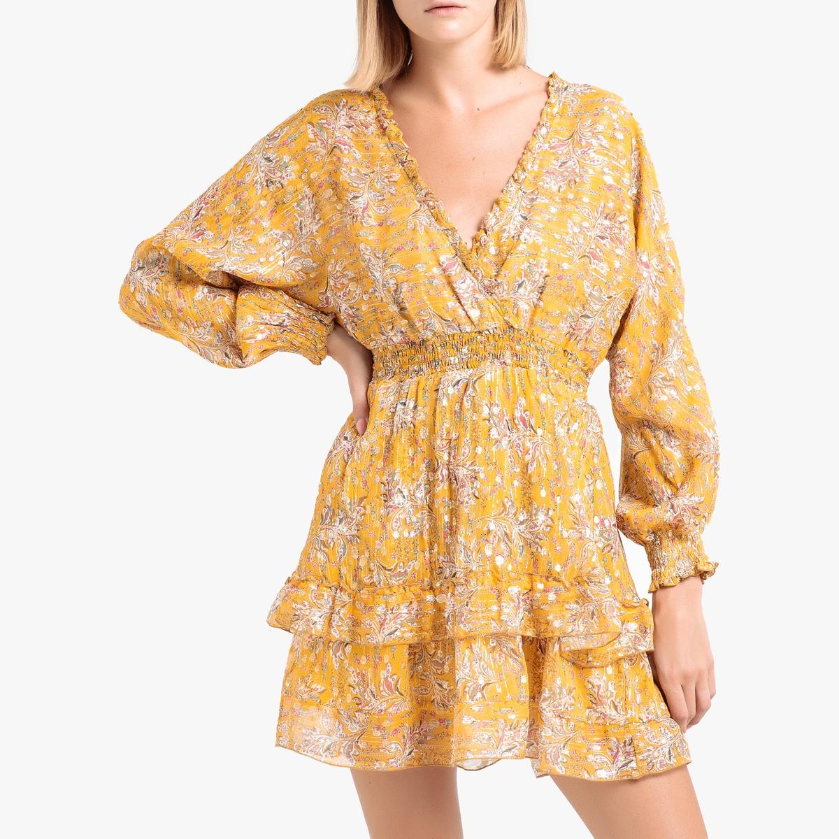 одеяло стеганое из хлопковой вуали с рисунком колорблок Платье La Redoute Короткое из вуали с рисунком 3(L) желтый
