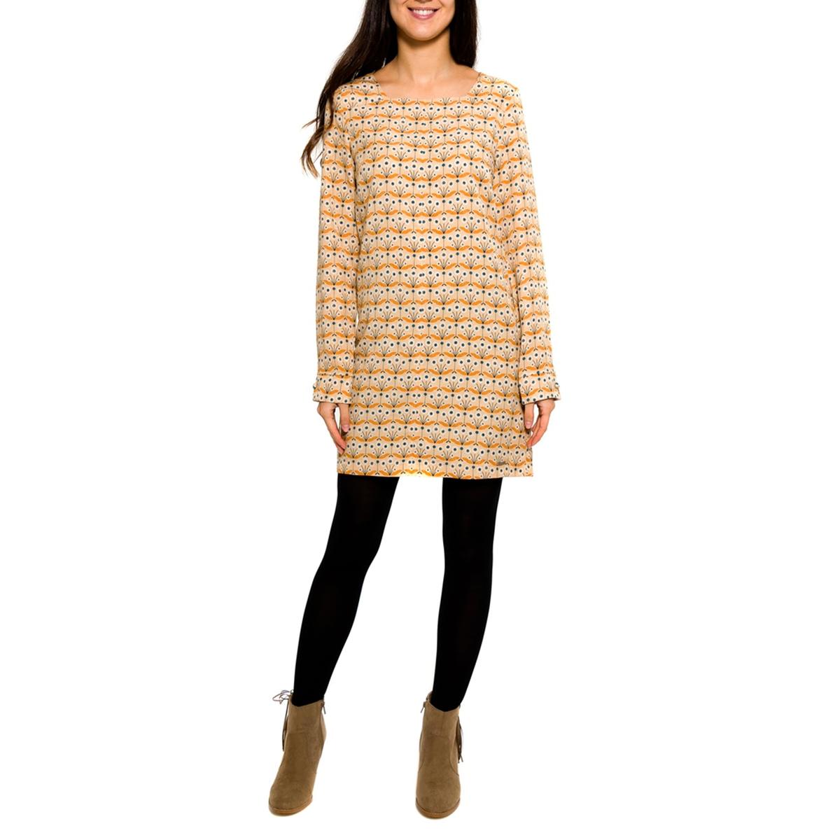 Платье с рисунком и длинными рукавамиСостав и описание:Материал: 100% Tencel®.Марка: PARAMITA.<br><br>Цвет: бежевый/геометрический рисунок<br>Размер: S.M