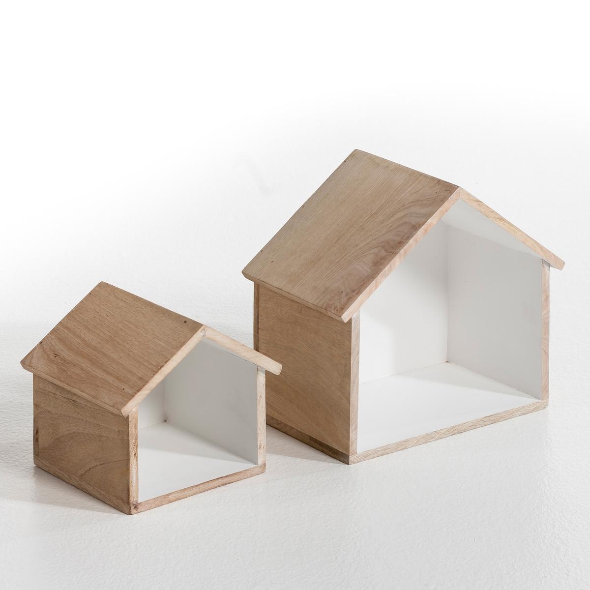 Полка в форме дома (2 шт.)  В18 и В27 см, CaseПолки в форме дома можно повесить или поставить. Из твёрдого мангового дерева, внутри покрыты краской. Маленькая модель : Шир..20 см x высота ок.18 см. Большая модель : Шир..31 x В.27 см. Комплект из 2 полок разного размера, внутренняя часть покрашена в разные цвета, наружная часть - без покрытия, либо полностью без покрытия.Вес:4 кг<br><br>Цвет: серо-бежевый,серый/ярко-розовый,синий/желтый