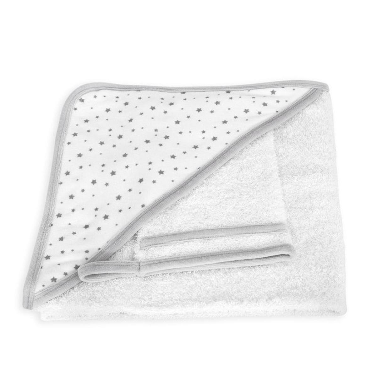 Cape de bain bébé + gant de toilette motif Étoiles