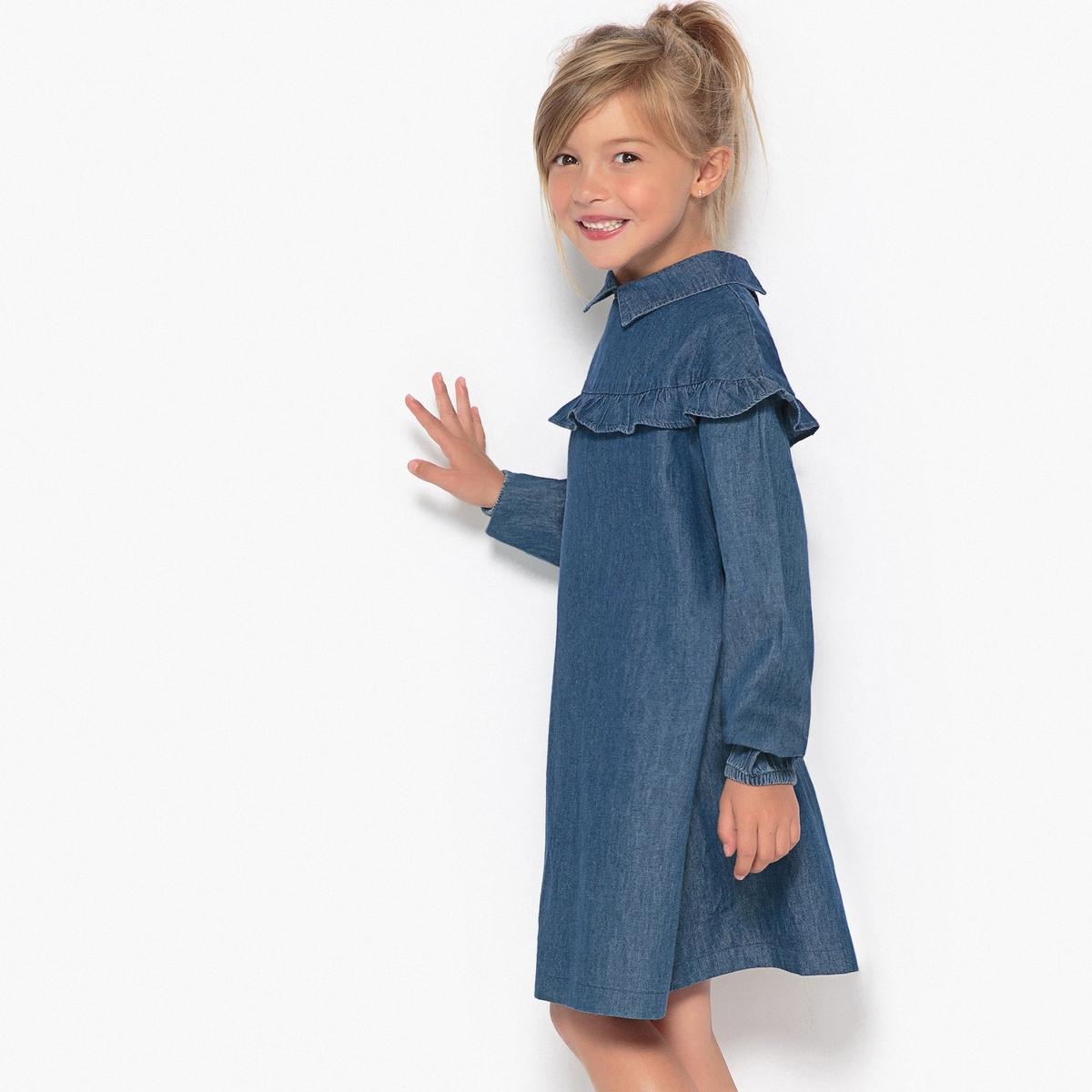 Платье из денима с воланами 3-12 лет