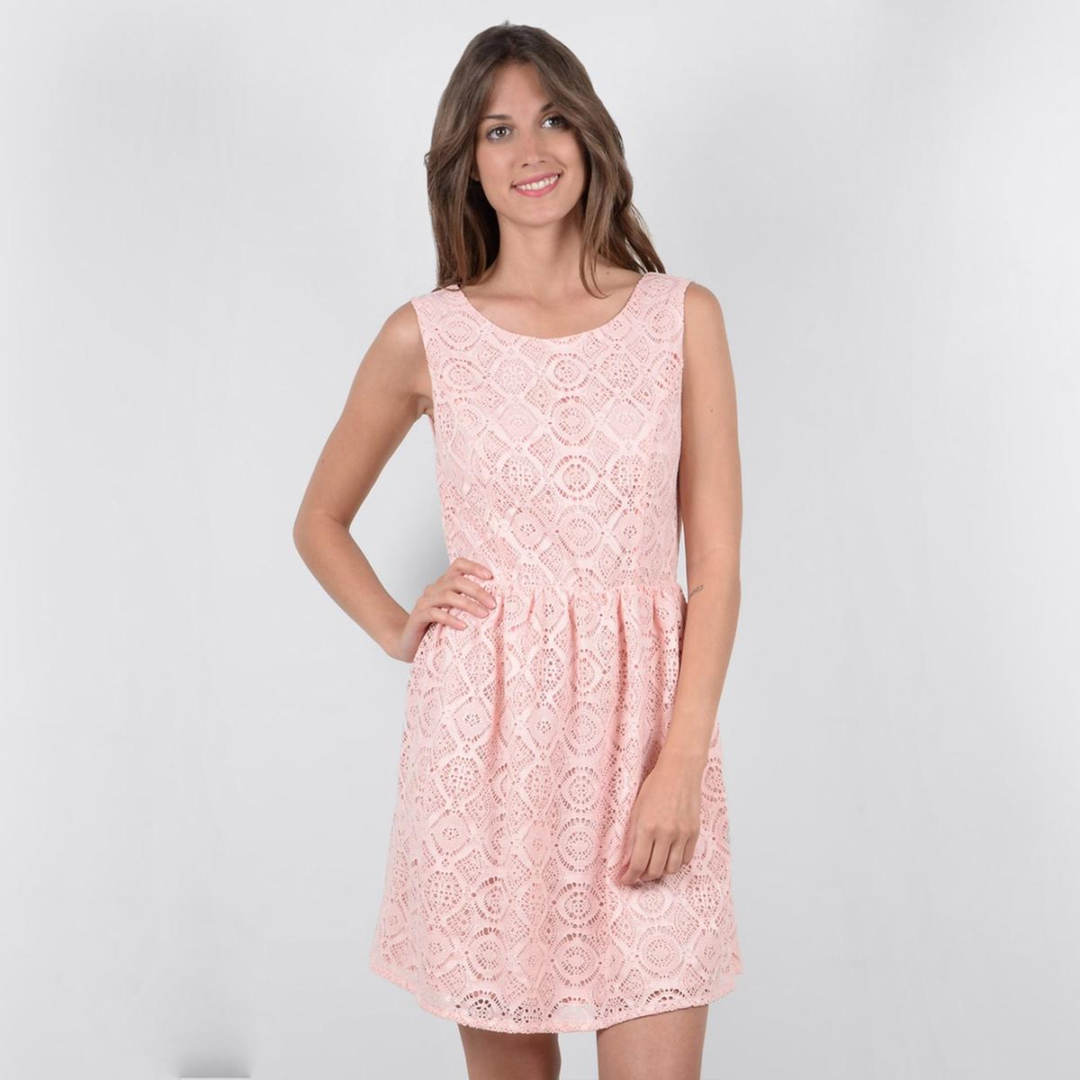 Платье короткое однотонное, без рукавовОписание:Детали •  Форма : МИНИ •  Укороченная модель  • Без рукавов    •  Круглый вырезСостав и уход •  5% эластана, 95% полиэстера  •  Следуйте советам по уходу, указанным на этикетке<br><br>Цвет: светло-розовый,черный