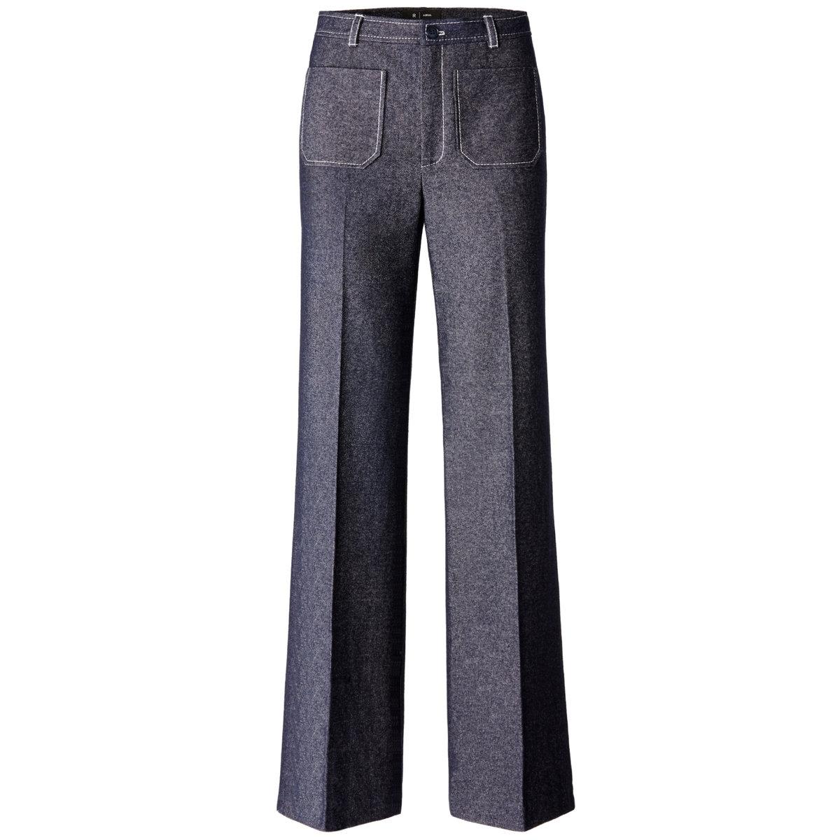 Джинсы с высоким поясомДжинсы с высоким поясом. Деним: 45% шерсти, 30% хлопка, 20% полиэстера, 5% других волокон. 2 накладных кармана спереди и сзади. Длина по внутр.шву 83 см. Ширина по низу 26 см.<br><br>Цвет: деним<br>Размер: 36 (FR) - 42 (RUS)