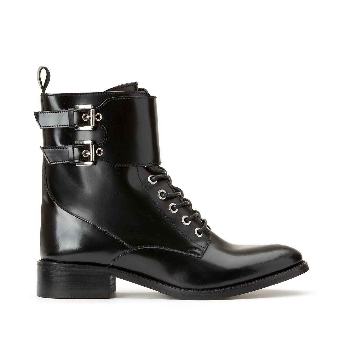 Кожаные LaRedoute Ботинки на шнуровке 40 черный кеды laredoute кожаные на шнуровке v10 40 белый