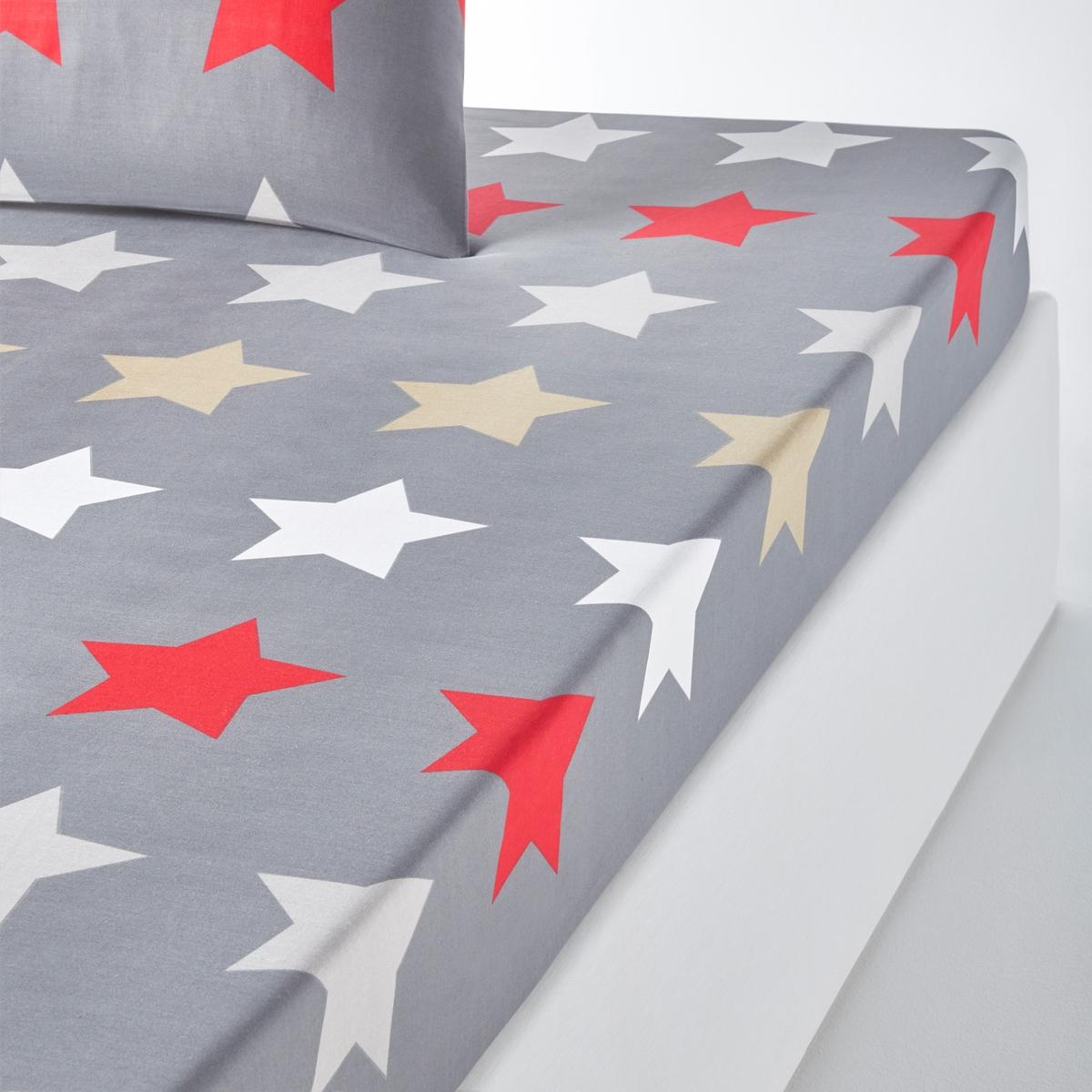 Простыня натяжная с рисунком, STARS, anthraciteНатяжная простыня с рисунком Stars anthracite. Звезды в стиле colorama : очень модный рисунок в этом сезоне.Характеристики натяжной простыни Stars anthracite:Рисунок звезды на темно-сером фоне.100% хлопок, 52 нитей/см? : чем больше нитей/см?, тем выше качество материала.Клапан 25 см.Машинная стирка при 60 °С. Всю коллекцию постельного белья Stars anthracite вы можете найти на сайте la redoute.ru Знак Oeko-Tex® гарантирует, что товары прошли проверку и были изготовлены без применения вредных для здоровья человека веществ. Размер на выбор :90 x 190 см : 1-сп140 x 190 см : 2-сп.160 x 200 см : 2-сп.<br><br>Цвет: антрацит<br>Размер: 90 x 190  см