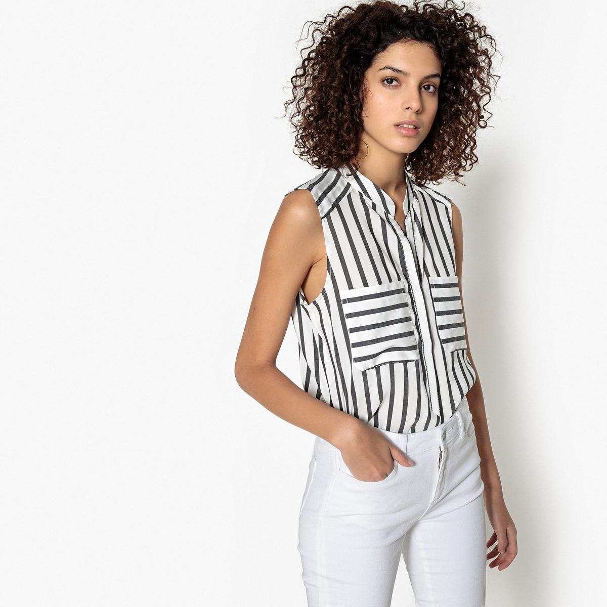 Блузка в полоску с V-образным вырезом, без рукавов