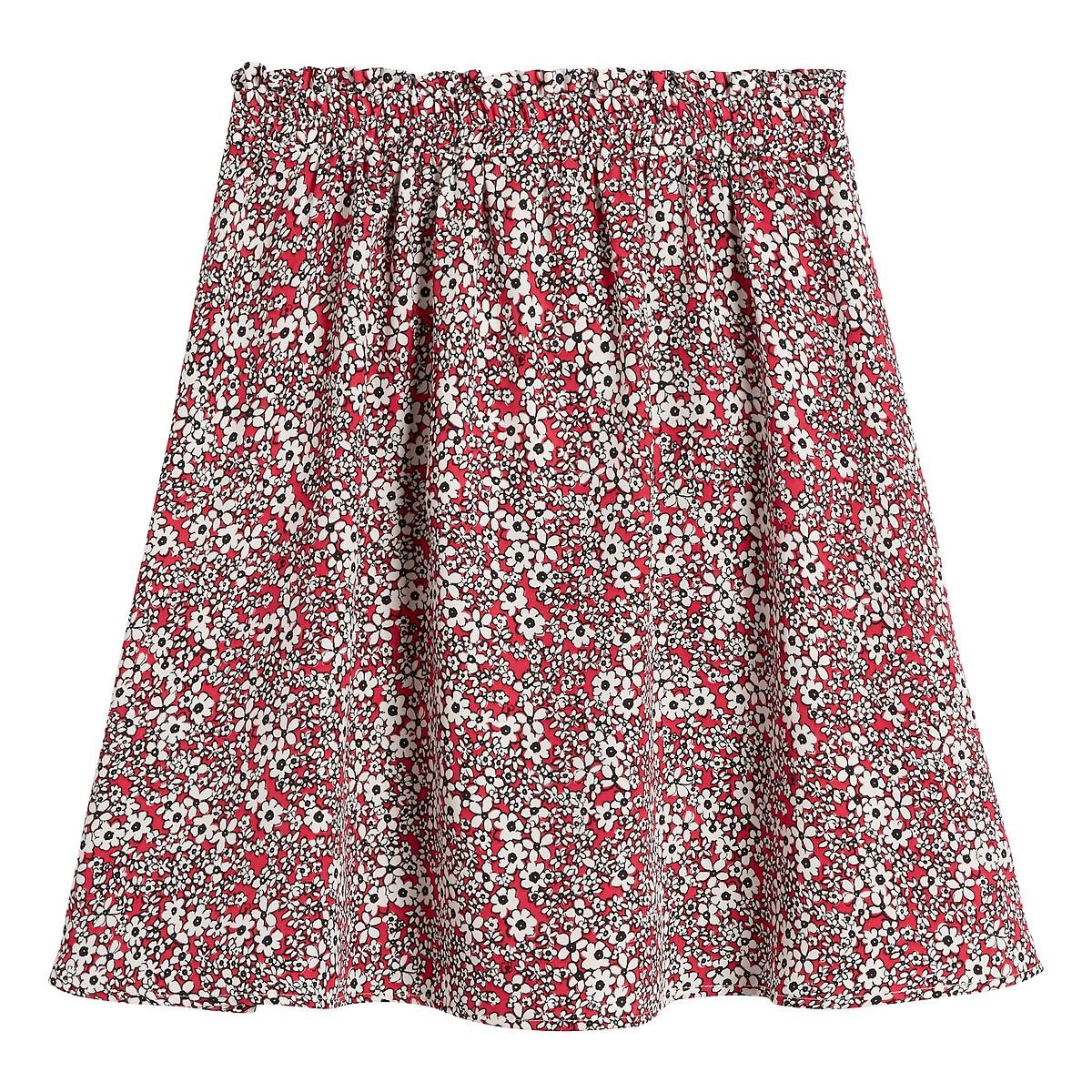 Falda corta, con estampado de flores