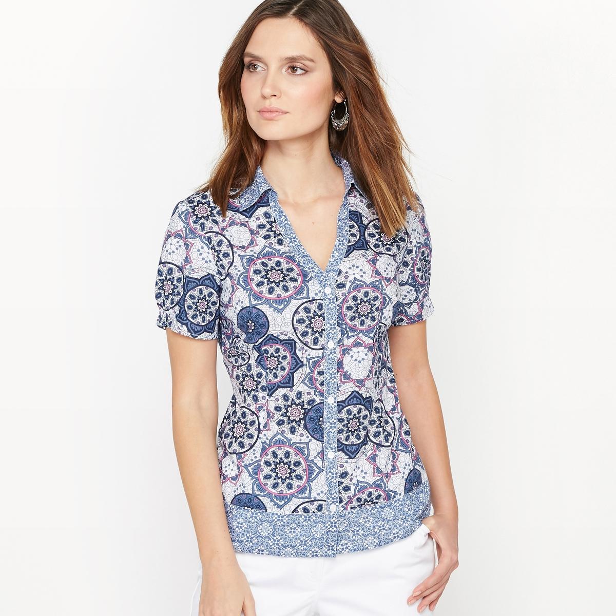 Рубашка с рисунком из струящейся ткани