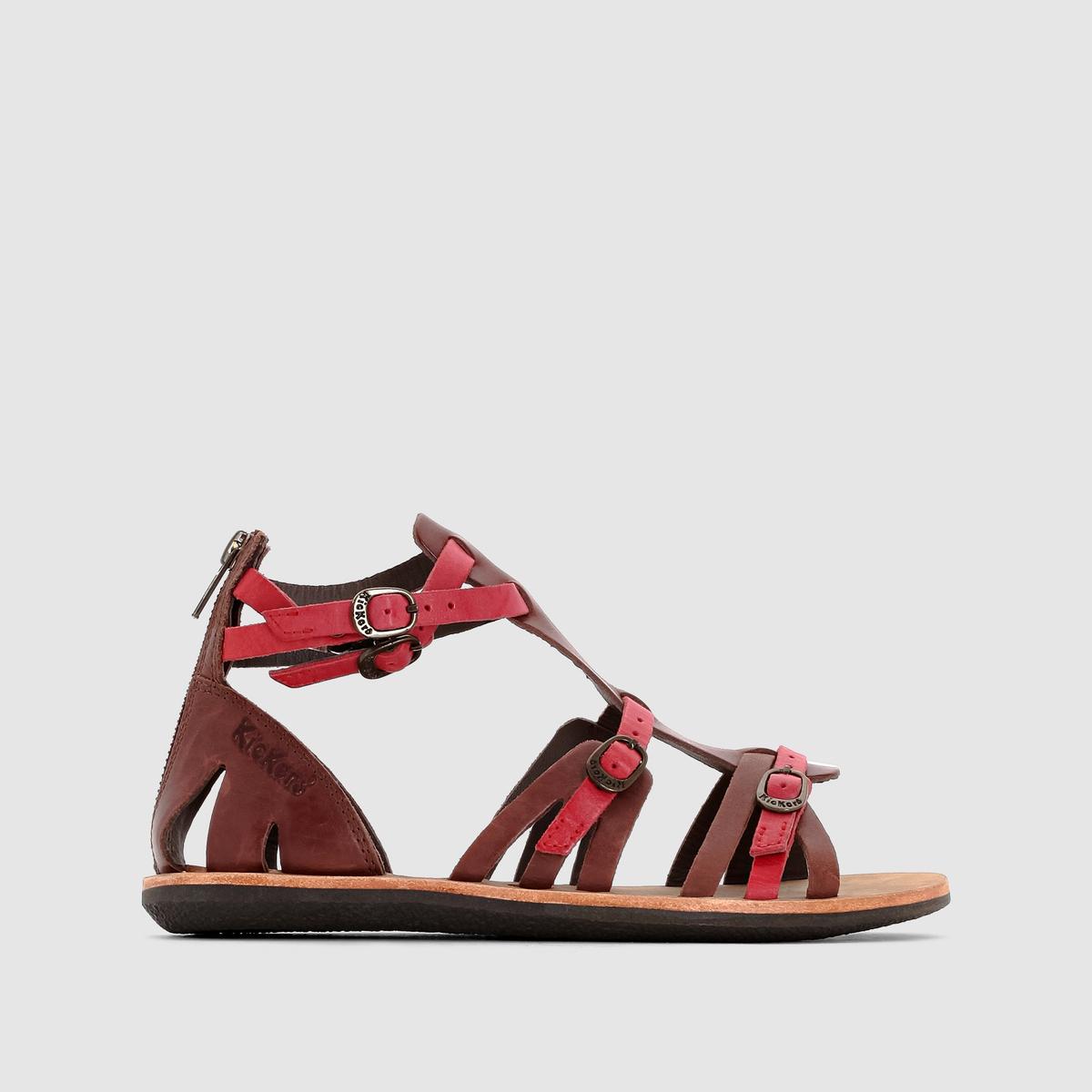 Сандалии кожаные в римском стилеСандалии  KICKERS, модель Spartatien. Верх: 100% кожи.Подкладка: 100% невыделанной кожи.Стелька: 100% кожи.Подошва: 100% каучука.Застежка: ремешок с пряжкой на щиколотке и 2 сверху.Высота каблука: 1,5 см Супер-практичные и очень модные кожаные сандалии в римском стиле от Kickers: комфорт и стиль ваших летних образов!<br><br>Цвет: каштановый / красный<br>Размер: 40