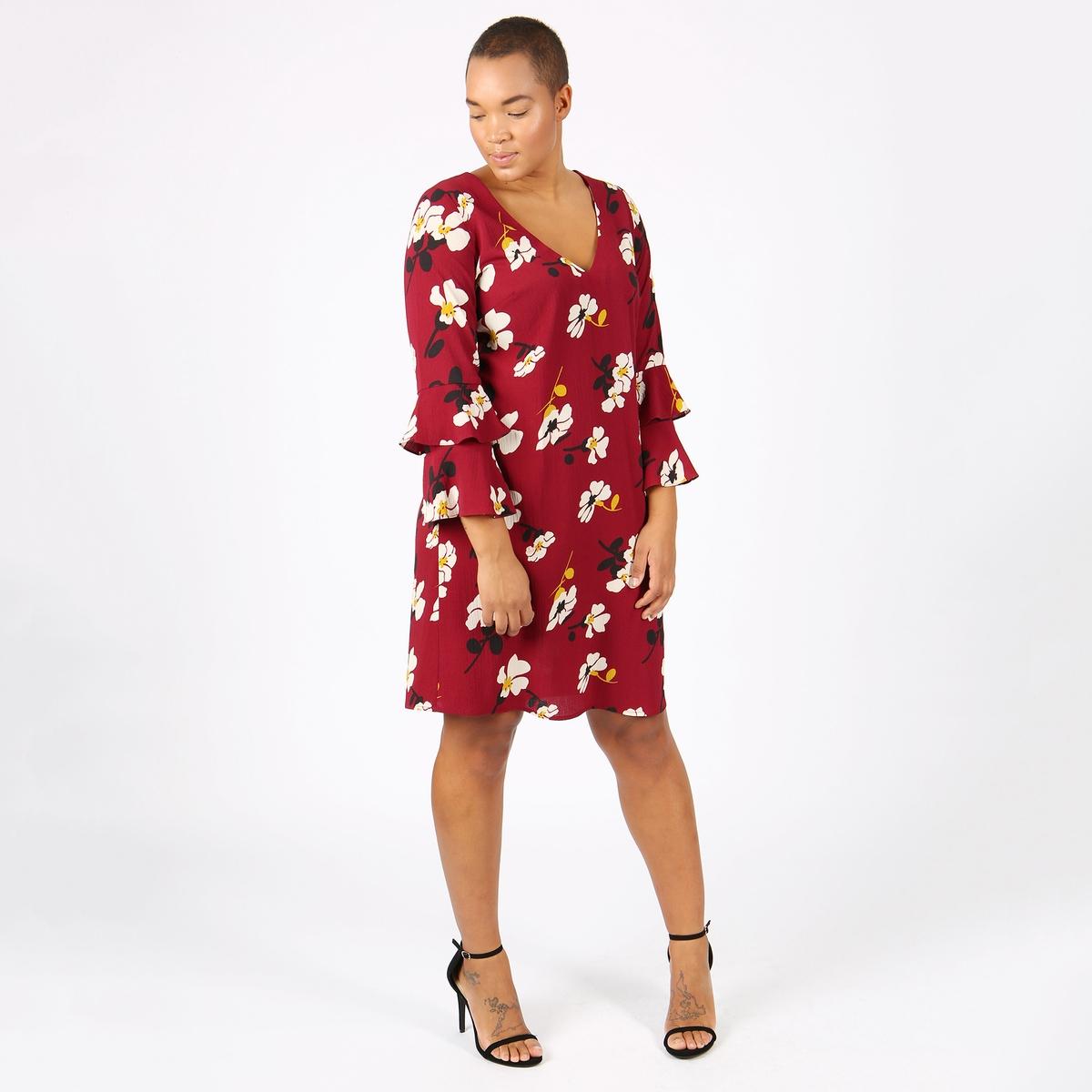 Платье расклешенное средней длины с рукавами 3/4 от LOVEDROBE