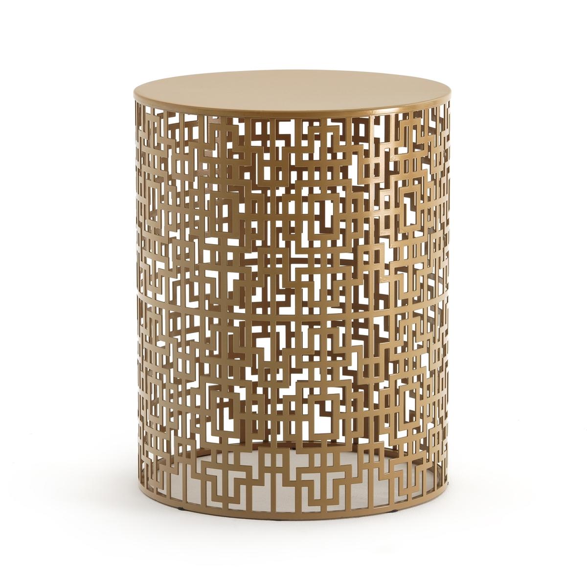 Столик LaRedoute Журнальный из ажурного металла GUEISHI единый размер золотистый скамья la redoute прикроватный столик cedak единый размер черный