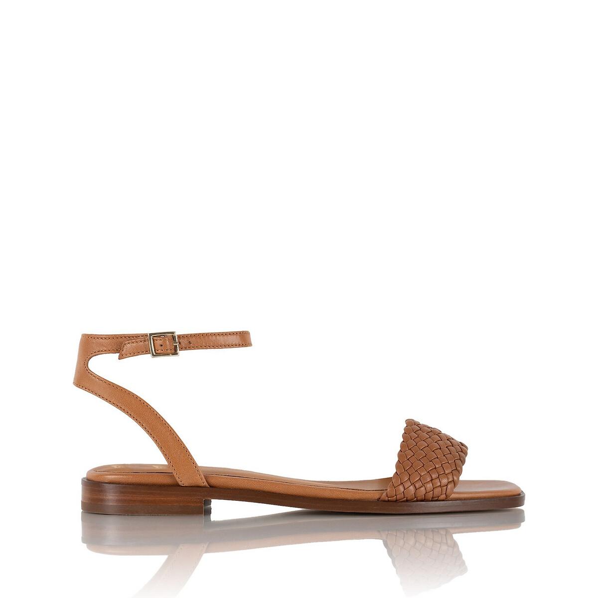 Фото - Босоножки LaRedoute Из кожи на плоском каблуке SUZANNE 37 каштановый балетки laredoute на плоском каблуке с рисунком под кожу питона 37 каштановый
