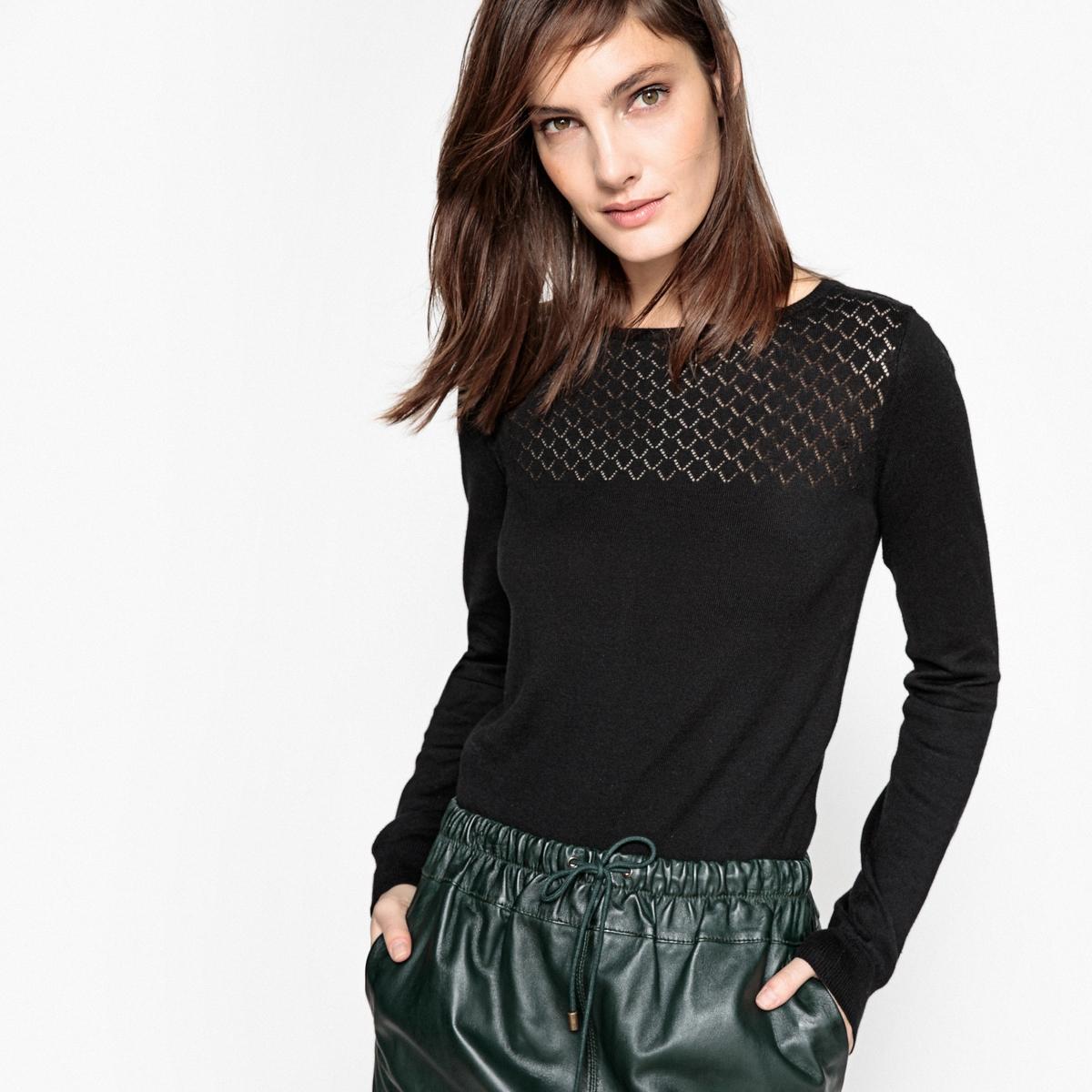 Пуловер хлопковый с ажурным верхом