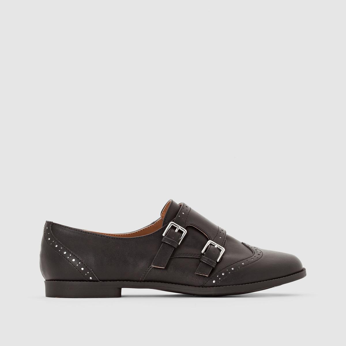 Ботинки-дерби с двойной шнуровкойПодкладка: Из синтетического материала           Стелька: Из синтетического материала           Подошва: эластомер.            Форма каблука : Плоский каблук           Мысок : Закруглённый           Застежка: Шнуровка<br><br>Цвет: черный<br>Размер: 36