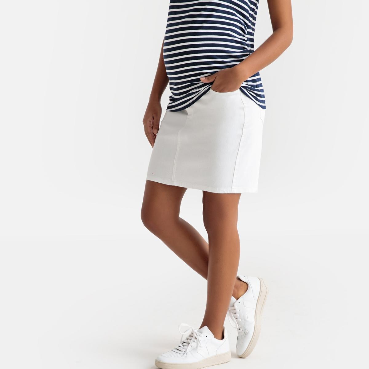 цена Юбка La Redoute Прямая из джинсовой ткани для периода беременности 34 (FR) - 40 (RUS) белый онлайн в 2017 году